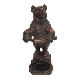 Late 20th Century Black Forest Style Bear Umbrella Stand For Sale