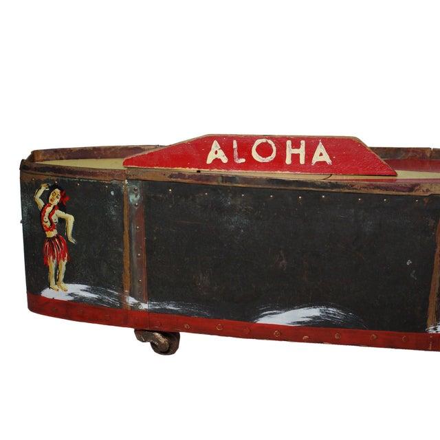 "Metal Large Handmade Tramp Art Hawaiian ""Toy Ship"" Box For Sale - Image 7 of 9"