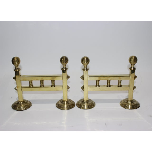 19c Fireplace Accesories - Trio of Fireplace Tools on Pair of Tool Stands (Racks) For Sale In West Palm - Image 6 of 10