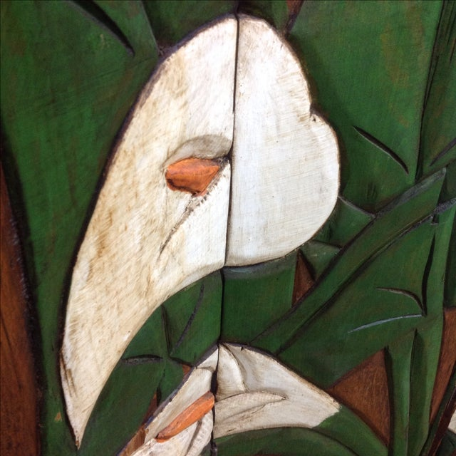 Diego Rivera Style Carved Relief 4 Panel Screen - Image 4 of 5