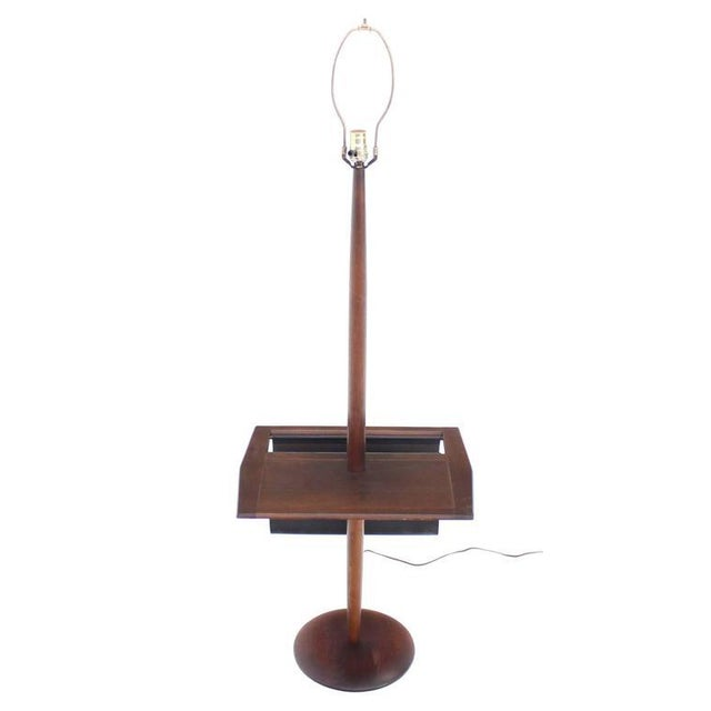 Brown Danish Modern Oiled Teak Floor Lamp with Magazine Rack For Sale - Image 8 of 8