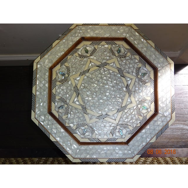 Syrian or Moroccan Mother of Pearl Inlay Side Table - Image 4 of 9