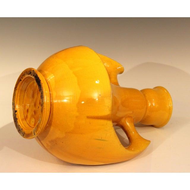 1920s Large Awaji Art Deco Studio Pottery Japanese Wing Handled Golden Yellow Vase For Sale - Image 5 of 11