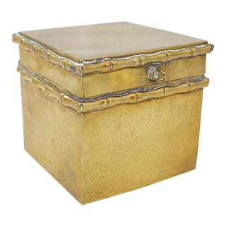 Brass Faux Bamboo Box For Sale