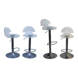 Modern Lucite Bar Swivel Stools - Set of 4 For Sale