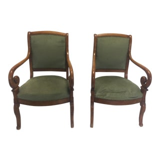 French Empire Green Upholstered Armchairs - a Pair