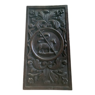 19th Century Carved Oak Religious French Plaque For Sale