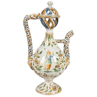 18th Century French Moustiers Faience Ewer For Sale