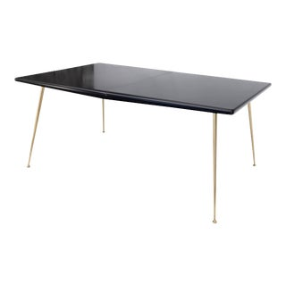 Black Lacquer Brass Legs Gibbings Dining Table with 1 Extensions Board For Sale