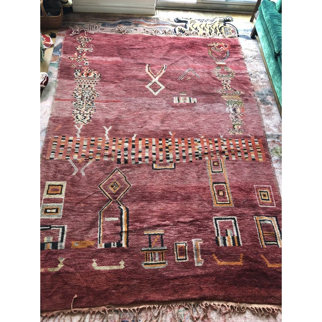1960s Pomegranate Tangier Moroccan Rug - 8′ × 10′ For Sale - Image 5 of 7
