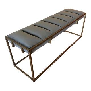 Contemporary West Elm Gray Velvet Bench