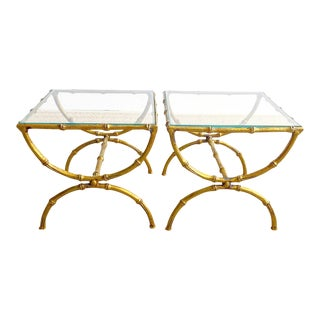 Pair Italian Faux Bamboo Metal Aged Gold Gilded Tables