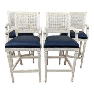 French Louis XVI Caned Back Bar Stools - Set of 4 For Sale