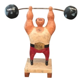 Curtis Jere Wood Weightlifter Sculpture For Sale