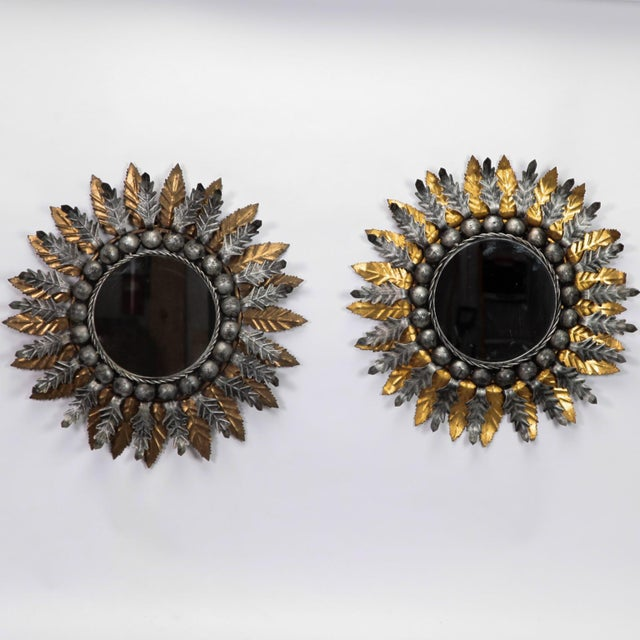 Lovely Pair Spanish Gilt and Silver Metal Sunburst Mirrors | DECASO