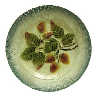 French Majolica Strawberry Fruit Plate For Sale