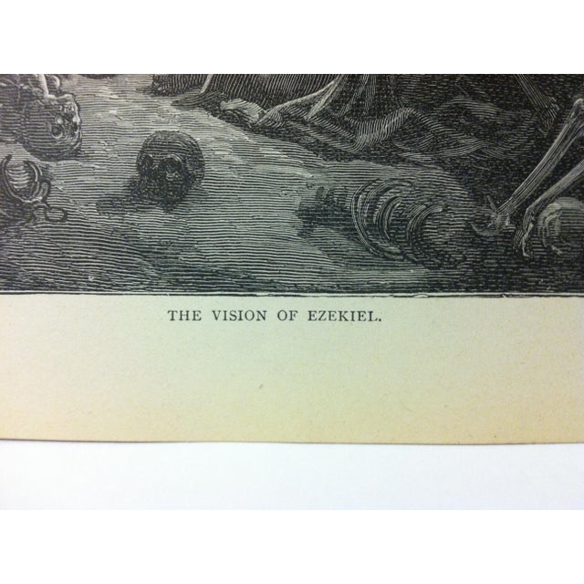 "Gothic Antique 1901 Gustave Dore Illustrated Print on Paper ""The Vision of Ezekiel"" For Sale - Image 3 of 4"