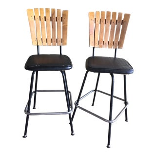 Vintage Mid Century Swivel Bar Stools- A Pair For Sale