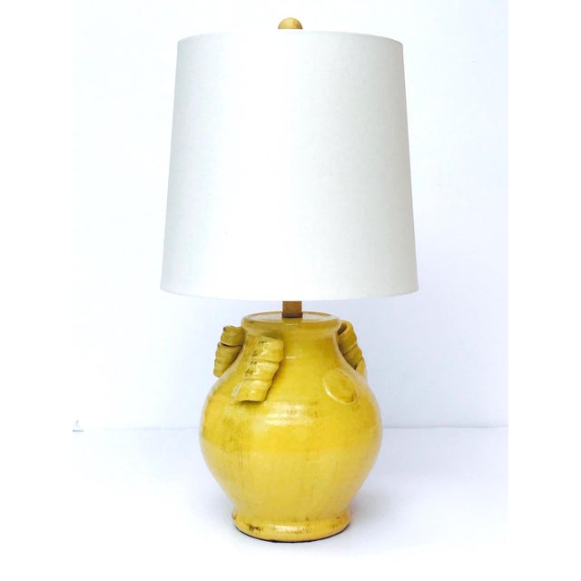 Pair of Elegant Chinese Pottery Lamps in Antique Yellow Glaze For Sale - Image 4 of 12
