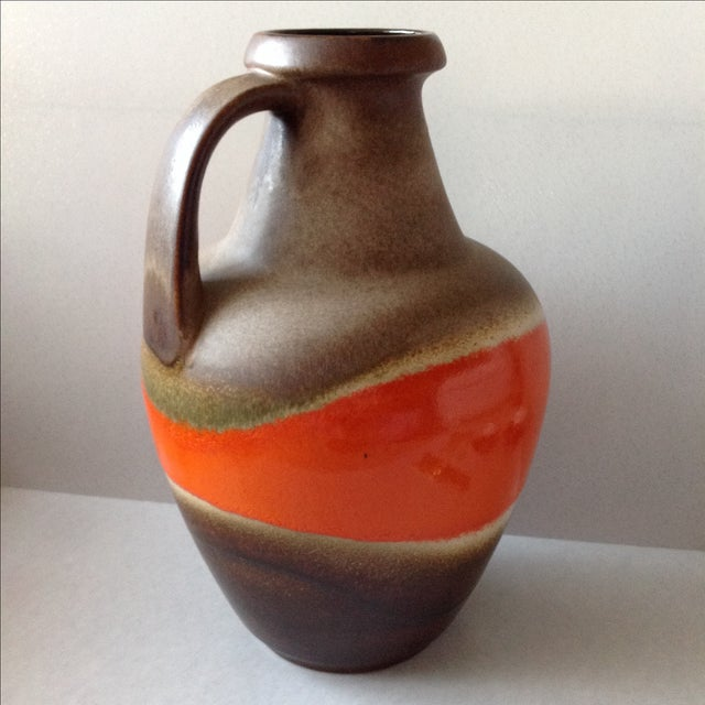 Mid-Century Modern Orange and Brown Fat Lava Floor Vase For Sale - Image 3 of 11