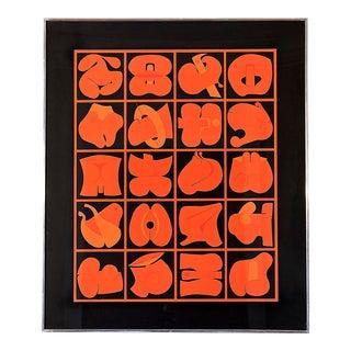 1968 Takeshi Kawashima Red and Black Serigraph For Sale