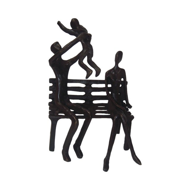 Family on Bench Bronze Sculpture - Image 1 of 8