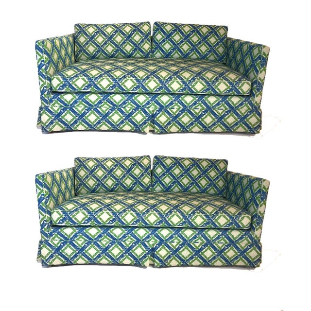 Stunning pair of 1950s Parson or Tuxedo style settees with luxurious heavy textured upholstery in a stunning lattice...