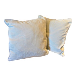 Transitional Faded Blue Linen Mitchell Gold Pillows - a Pair For Sale