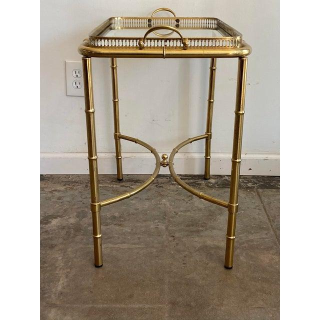 Vintage Brass Mirror Framed Glass Side Table For Sale - Image 9 of 10