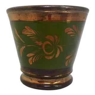 Victorian Copper and Green Lustre Ware Pot For Sale