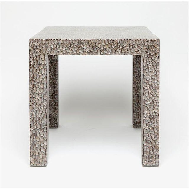 Contemporary Made Goods Vertagus Shell Inlay Parsons Side Table For Sale - Image 13 of 13