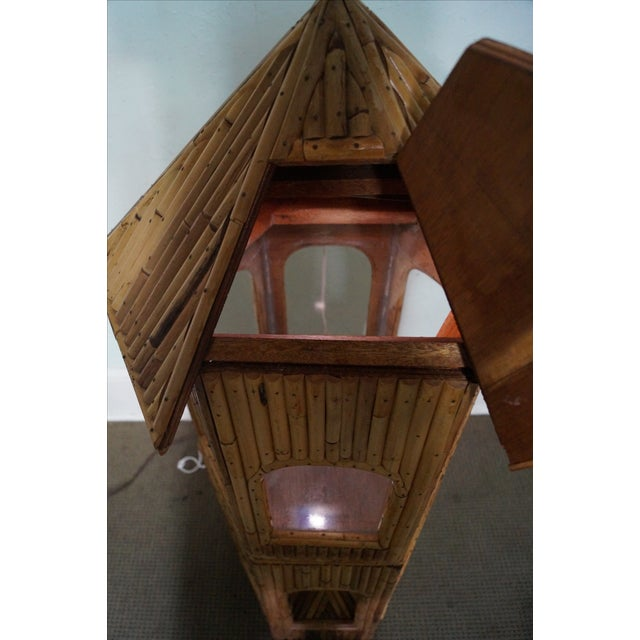 Brown Vintage Rattan Bamboo Terrarium Display Cabinet For Sale - Image 8 of 9