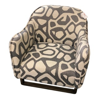 Alder & Tween Gray & Cream Abstract Print Chairs For Sale