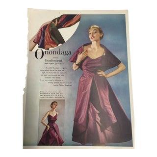 Vintage 1948 Onondaga Silks Ad Print For Sale
