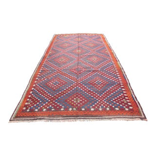 1960s Vintage Turkish Cicim Kilim Rug - 5′8″ × 10′9″ For Sale