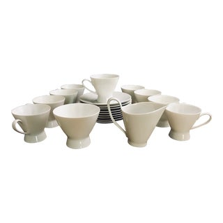 1960s Vintage Rosenthal Modern White Tea Set - Set of 21 For Sale