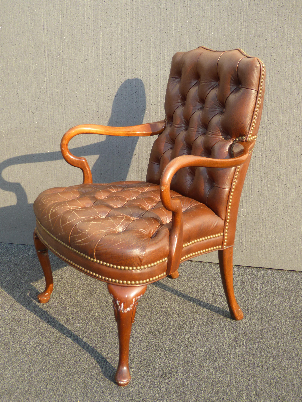 Vintage Schafer Bros Tufted Burnt Orange Leather Accent Chair Chairish