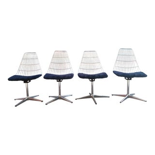 Spage Age Modern Chromcraft Chrome Cage & Shag Chairs - Set of 4 For Sale