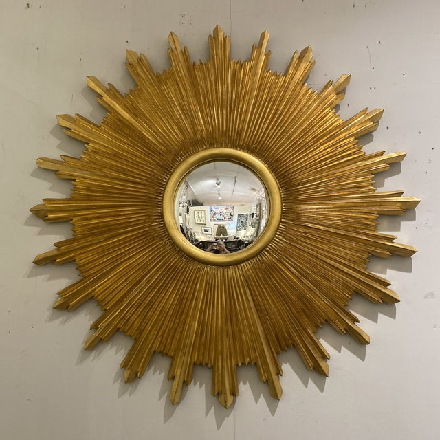 Carvers guild starburst mirror in antique gold. Great massive size sunburst.