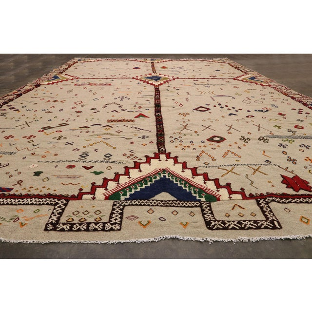 Vintage Berber Moroccan Flat-Weave Kilim Glaoui Rug - 12'10 X 17'08 For Sale In Dallas - Image 6 of 9
