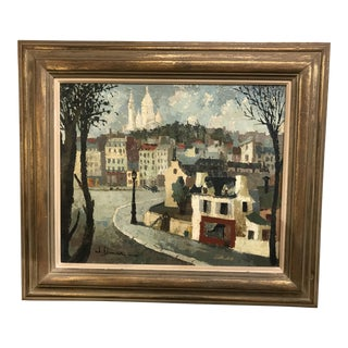 20th Century Oil Painting on Canvas of French Village Scene For Sale