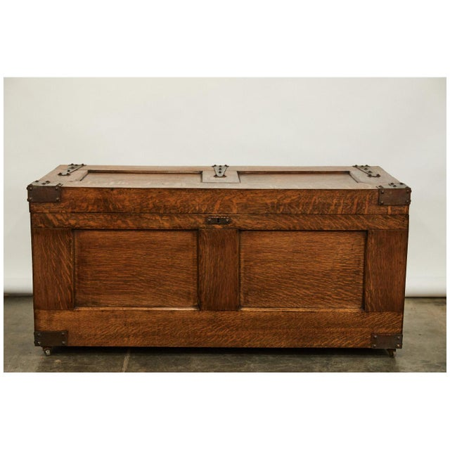 Brown Arts & Crafts Trunk For Sale - Image 8 of 9