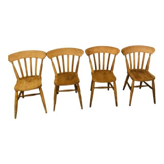 Early 1900s Vintage English Pine Chairs - Set of 4 For Sale