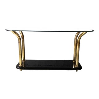 1980s Black Lacquer and Gold Side Table With Glass Top For Sale