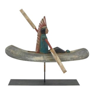 Vintage Bill Huebbe Indian Whirligig Signed Sculpture For Sale