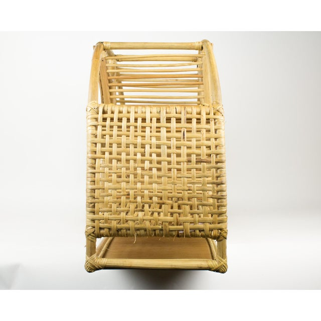 Franca Helg, Antonio Piva and Franco Albini 1970s Bohemian Rattan and Wicker Style Wall Desk Organizer For Sale - Image 4 of 12
