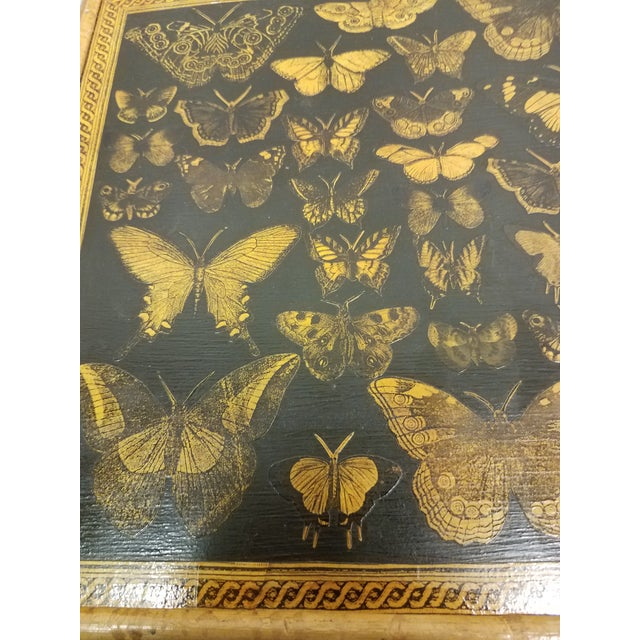 Antique English Bamboo Decoupaged Bookcase With Butterflies For Sale - Image 11 of 13