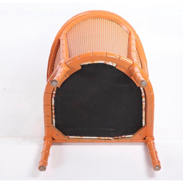 Vintage Mid Century Orange Lacquered Vintage Cane Bamboo Lounge Chairs- A Pair For Sale In Providence - Image 6 of 7