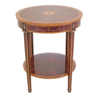 Federal Style Round Mahogany Inlaid Occasional Table For Sale