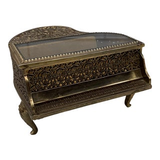 Vintage Brass Filigree Piano-Shaped Jewelry Music Box For Sale